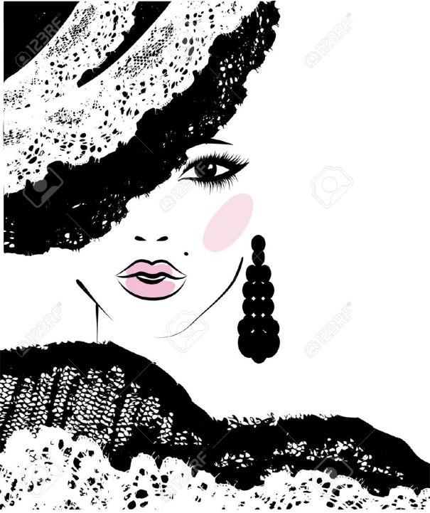 22305071-chica-con-un-peinado-de-moda-en-un-sombrero-de-encaje-ilustraci-n-de-moda-Foto-de-archivo